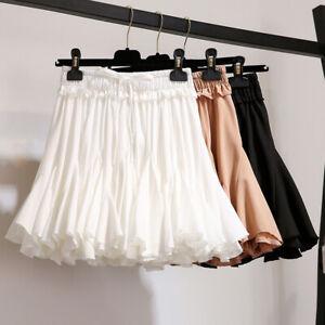 Summer Womens Elastic High Waist Drawstring Ruffle Pleated Mini Skort Tutu Skirt