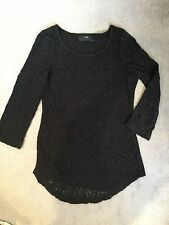 NEXT - BLACK LACE FRONT TOP WITH PLAIN BACK & 3/4 SLEEVES - SIZE 6