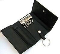MEN'S GENUINE LEATHER KeyChain Wallet Coin Holder Case Key Coin Zip US SELLER