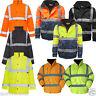 Mens Hi Viz Visibility Padded Fleece Security Waterproof Work Wear Jacket Coat