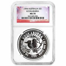 1994 $1 Silver Australia Kookaburra 1 oz NGC MS70 Flag Label