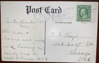 Benjamin Franklin One 1 Cent stamp on a 1909 Postcard Very Good Condition