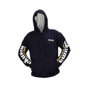 Okuma Navy Blue Printed Hooded Sweatshirt Draw String AHNG-M
