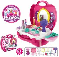 21 PCS Kids Cosmetic Set Girls Makeup Play Pretend Beauty Toy Gift Kit hairdryer