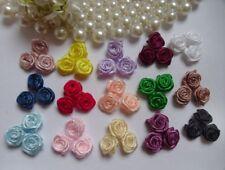 """3/8"""" Mix Assorted (15 Colors) Satin Ribbon Roses-150 Pcs-R0030"""
