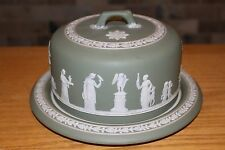 Rare Antique Wedgwood Sage Green Jasper Ware Cheese Dome (c.1900)