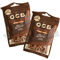 OCB SLIM VIRGIN UNBLEACHED ECO 6MM TIP CIGARETTE FILTER TIPS RESEALABLE BAGS