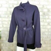Clorinda Womens Cardigan Sze S Purple Merino Wool Blend Sweater Snap On Buttons