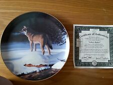 """Bradford Exchange """"Solitary Hunter"""" Winter Guardian collector plate"""