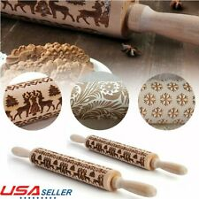 """3D Wood Rolling Pin Embossing Baking Cookie Biscuit Fondant Christmas Roller 17"""""""