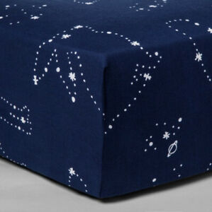 Cloud Island Crib Fitted Sheet 100% Cotton Constellation Stars Space Blue