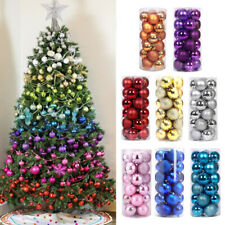 More details for 24x glitter christmas hanging balls baubles tree party wedding ornament 4/6/8cm
