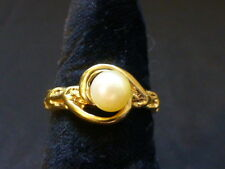 Vintage 10K Yellow Gold Pearl Ring - Size 5.5 - Organic Type Setting
