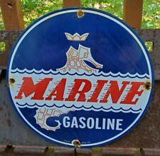 VINTAGE 1957 MARINE GASOLINE PORCELAIN GAS STATION PUMP SIGN RARE GREAT COLORS!