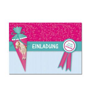 Einladungskarten Einschulung -  Einladung Schulanfang - Pferd - Mädchen - A6