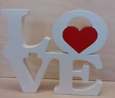 LOVE/ free standing wooden plaque with red heart/ gift/valentines/decor