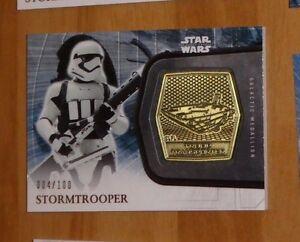 Topps STAR WARS Force Awakens Serie 2 Card MEDALLION Stormtrooper /100 Carte