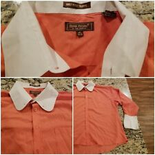 Henri Picard Dress Shirt Men's Size 18 1/2 ~ 34/35 Corral Peach Button Up EUC F