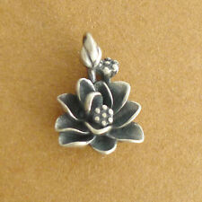 Solid 925 Sterling Silver 3D Oxidized Lotus Flower Yoga Zen Namaste Pendant