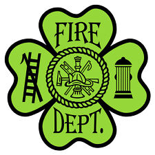 Fire Dept. 4 Leaf Green Clover Small Reflective Decal Sticker