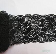 1 Yard Vintage Black Stretch Flower Lace Trim Ribbon Wedding Dress Sewing Craft