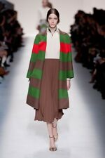RUNWAY VALENTINO Fall 2014 Elegant Wool Coat Striped Red Green Brown Sz US 4