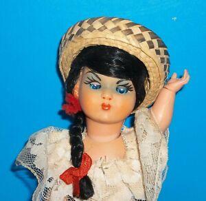 """Vintage 9.5"""" Elastic Jointed Senorita Doll Sleeper Eyes Sombrero Lace Top, Skirt"""
