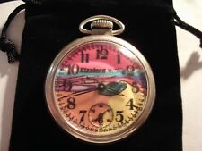 1970 Westclox Pocket Watch Hot Wheels Sizzlers Theme Dial & Case Runs Well.