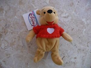 "NEW!! POOH w/RED SWEATER 8"", Disney Mini Bean Bag Plush, Winnie the Pooh,NWT"