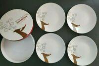 "Entertaining Essentials Reindeer Design 4 Christmas Dessert Plates White  8.25"""