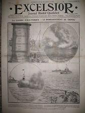 GUERRE ITALIE TURQUIE BOMBARDEMENT DE TRIPOLI FLOTTE ITALIENNE EXCELSIOR 1911