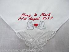 Personalised Ladies Handkerchief Doves Design,Wedding, Mother of Bride Gift