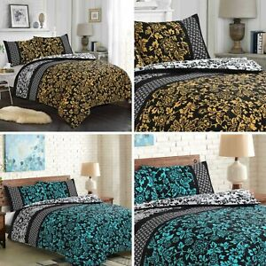 Fabulous 100% Cotton Floral Printed Duvet Cover Sets with Fitted Sheet All Sizes