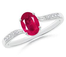 14KT White Gold 1.60 Carat Natural Red Ruby EGL Certified Diamond Women's Ring