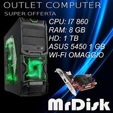 PC COMPUTER DESKTOP GAMING I7 860 RAM 8 GB HD 1 TB ASUS 5450 1 GB  WI-FI WIN 10