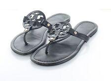 P16 $198 Women's Sz 7.5 M Tory Burch Miller Leather Medallion Thong Sandals