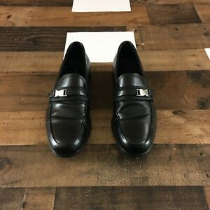Prada Men's Black Leather Logo Buckle Loafers Shoes Size 8.5