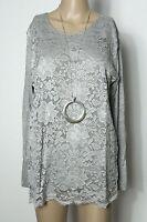 Shirt Gr. 40-42 silber-grau Spitzen Long Shirt/Langarmshirt NEU
