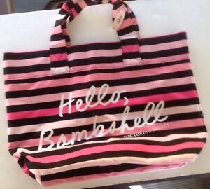 Victorias Secret Striped Heavyweight Canvas Tote Beach Book Bag NWT Wide Bottom