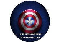 Capitán América Escudo 6 7 o 8inch 2 Comestibles Ronda Cake Topper Glaseado Papel De Arroz