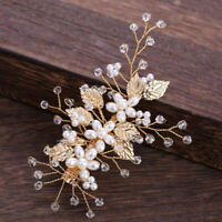 Gold Leaf Pearl Hairpins Headdress Headpiece Bridal Wedding Hair Accessories Tw