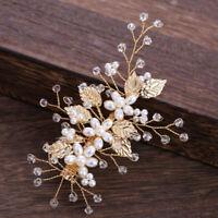 Gold Leaf Pearl Hairpins Headdress Headpiece Bridal Wedding Hair Accessories Pf