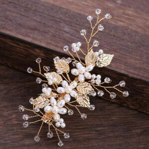 Gold Leaf Pearl Hairpins Headdress Headpiece Bridal Wedding Hair Accessories FJ