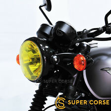 Triumph Bonneville T100 T120 Headlight Protective Covers Curved Surface - Yellow