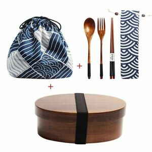 Wooden Bento Box Japanese Lunch Food Container With Storage Bag For Kids School