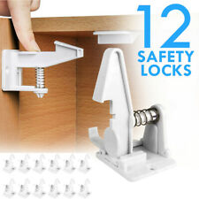 12Pack Cabinet Locks Child Safety Latch Baby Home Starter Kit Lock Drawer White