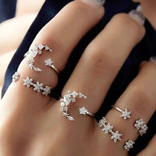5Pcs/Set Vintage Silver Crystal Star Flower Stackable Sparkly Rings Boho Jewelry