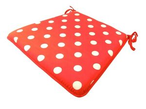 Spotty Red Tapered Tie-On Seat Pad. Garden/Patio/Kitchen/Dining