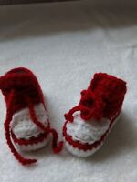 "Crocheted baby sneakers, red and white.Length is 3.5"", normally fits 0-3 mths."