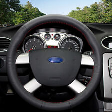 High Quality Black Leather Hand-stitched Car Steering Wheel Cover for Ford Focus